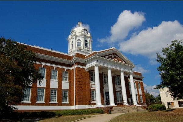 Barrow County, GA's Courthouse facade and front lawn and landscape.