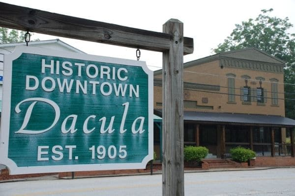 Dacula, GA historic town sign.
