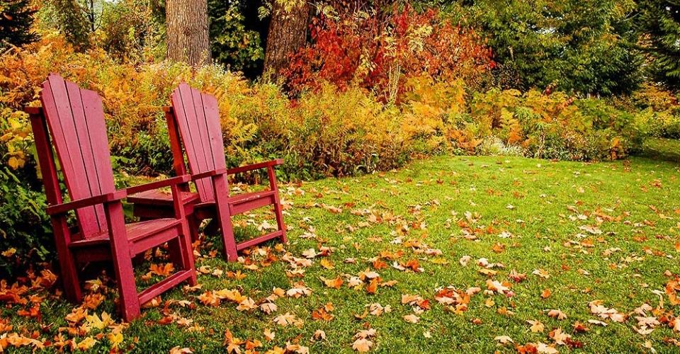 Two red wooden lawn chairs with small table in a fall setting.