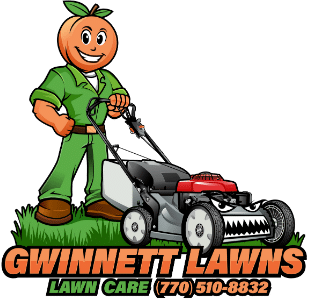 Gwinnett Lawns Lawn Care's logo with business name and phone number below.