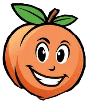 Georgia peach head of Gwinnett Lawn's mascot.