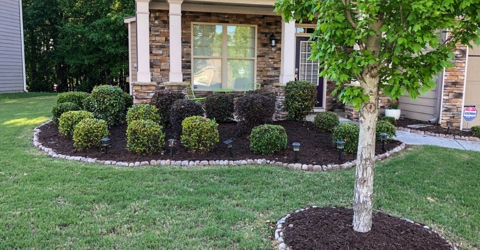 Two dark mulch beds lined in rocks in a front yard with trees and bushes.